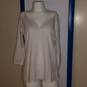 lucky brand henley 3/4 crocheted l 8 10 tunic top